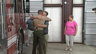 Marine son stationed overseas surprises firefighter father for his birthday
