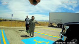 Ivonne Casimiro, 29, of Las Vegas, is seen, screwdriver in hand, during a confrontation with Enoch, Utah, police Cpl. Jeremy Dunn June 28, 2018, at a truck stop in Parowan, Utah. (Enoch Police Department)