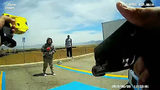 Ivonne Casimiro, 29, of Las Vegas, is seen as Enoch, Utah, police Cpl. Jeremy Dunn attempts to stun her with a Taser June 28, 2018, at a truck stop in Parowan, Utah.  (Enoch Police Department)