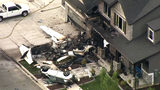 A frame from video shows the scene where Duane Youd flew a Cessna 525 CitationJet into his own home early Monday, Aug. 13, 2018, in Payson, Utah. (John Wilson/KSL-TV/The Deseret News via AP)