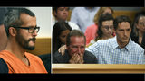 Chris Watts (L) in court Aug. 21, 2018, for charges in the strangulation of his pregnant wife, Shanann Watts, 34, and their daughters, Bella, 4, and Celeste, 3. At right, Shanann's father and brother. Photo: RJ Sangosti/The Denver Post via AP, Pool