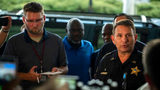 Jacksonville Sheriff Mike Williams, right, holds a news conference, Sunday, Aug. 26, 2018, in Jacksonville, Fla., after a gunman opened fire Sunday during an online video game tournament that was being livestreamed from a Florida mall.