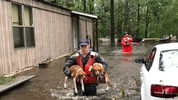 United States Coast Guard members of Shallow-Water Response Team 3 rescued beagles and their owners stranded by floodwater from Hurricane Florence. (Photo by USCG 5th District Mid Atlantic)