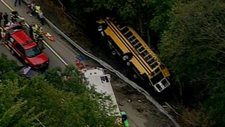 Multiple injuries after school bus runs over embankment near Pittsbugh