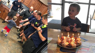 Fire department surprises 3-year-old with birthday party after guests cancel at last minute