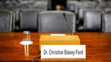 The desk where Christine Blasey Ford will sit in the Senate Judiciary Committee hearing room on Thursday, Sept. 27, 2018 on Capitol Hill.