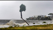 The storm surge and waves from Hurricane Michael batter the beachfront homes on October 10, 2018 in the Florida Panhandle community of Shell Point Beach, Florida. (Mark Wallheiser/Getty Images)