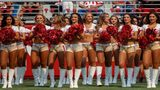 San Francisco 49ers cheerleaders on the sidelines during the first quarter against the Arizona Cardinals at Levi's Stadium on October 7, 2018 in Santa Clara, California.