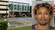 Inmate escapes after jumping from 2nd story hospital window in handcuffs. (WSB-TV / Cobb County Sheriff's Office)