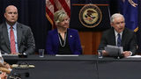 WASHINGTON, DC - AUGUST 29: (L-R) Department of Justice Chief of Staff Matt Whitaker, the FBI's Kristi Johnson and U.S. Attorney General Jeff Sessions participate in a round table event with the Joint Interagency Task Force.