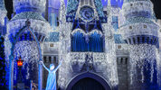 "Queen Elsa from ""Frozen"" uses her incredible powers to transform Cinderella Castle into a glistening ice palace. for the holidays. Joined on the Forecourt stage by Princess Anna, rugged mountain man Kristoff and Olaf, the summer-loving snowman."