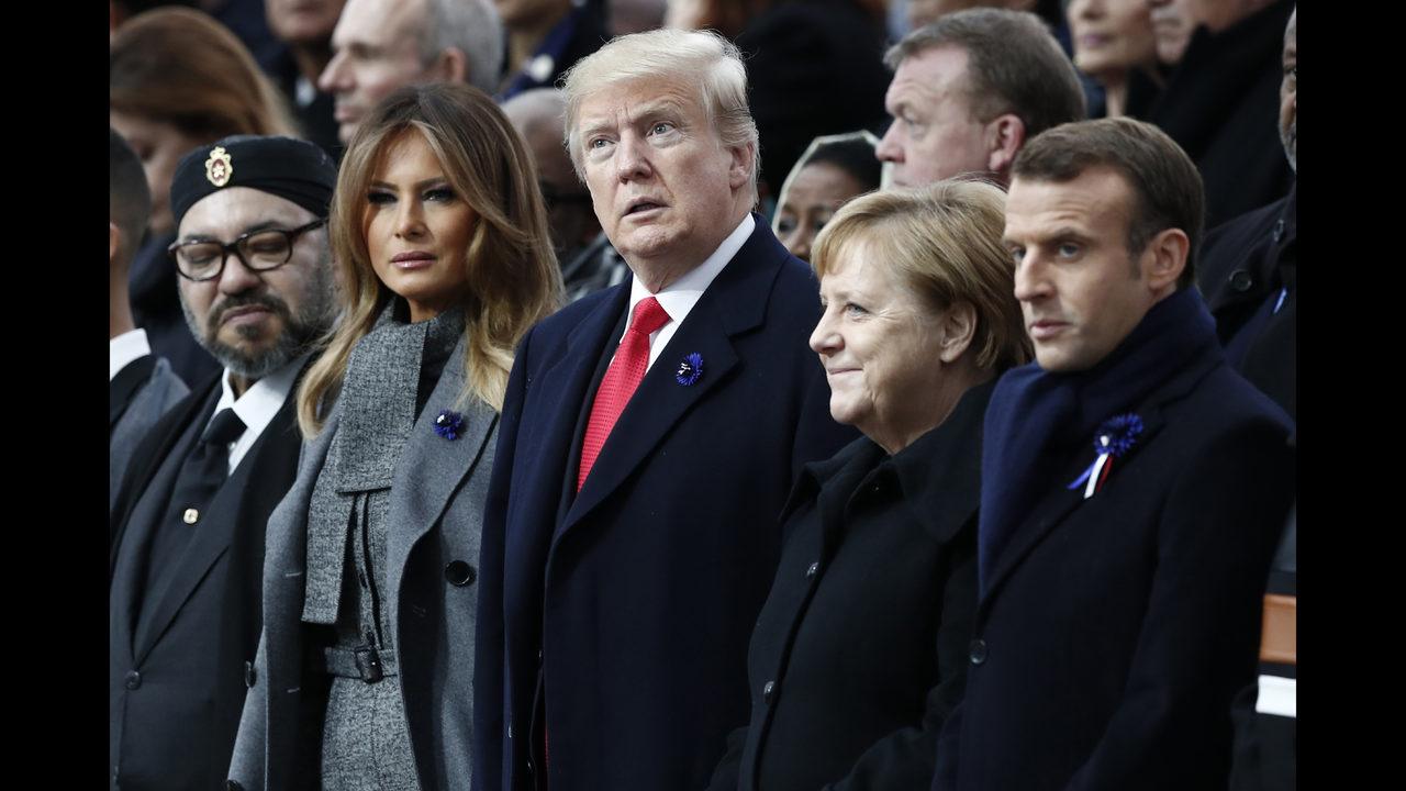 Angela Merkel Topless photos: trump, world leaders mark 100 years since world war