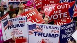 Supporters wave campaign signs during a capmpaign rally attended by U.S. President Donald Trump at the County War Memorial Coliseum on Nov. 5, 2018, in Fort Wayne, Indiana.
