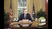 President Bush addresses the nation on television from the Oval Office in Washington on Wednesday, Dec. 20, 1989 as he explains his decision to deploy American troops to Panama.