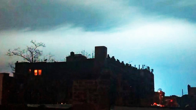 power plant explosion turns nyc sky neon blue causes power outage