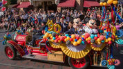In this handout image provided by Walt Disney World Resort, Disneyland guests and Cast Members celebrate Mickey Mouses 90th birthday, November 18, 2018, during a festive cavalcade down Main Street U.S.A at Disneyland park in Anaheim, California.