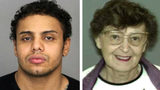 Naythen Aubain, left, is accused of killing and dismembering his 90-year-old grandmother, Katerine Aubain, right, and their landlord, Jane Wentka, 87, in the Utica, New York, apartment building they shared.