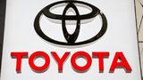 In this Feb. 15, 2018, file photo the Toyota logo displayed at the Pittsburgh Auto Show.