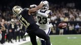 Los Angeles Rams' Nickell Robey-Coleman breaks up a pass intended for New Orleans Saints' Tommylee Lewis during the second half of the NFL football NFC championship game, Sunday, Jan. 20, 2019, in New Orleans.