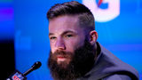 Julian Edelman #11 of the New England Patriots talks to the media during Super Bowl LIII Opening Night at State Farm Arena on January 28, 2019 in Atlanta, Georgia. (Kevin C. Cox/Getty Images)