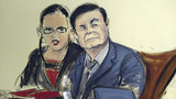 """In this courtroom sketch, Joaquin """"El Chapo"""" Guzman, right, is seated at the defense table with his interpreter, in the U.S. trial of the infamous Mexican drug lord, in New York, Monday Feb. 4, 2019."""