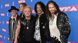 (L-R) Brad Whitford, Tom Hamilton, Joey Kramer, Joe Perry, and Steven Tyler of Aerosmith attend the 2018 MTV Video Music Awards at Radio City Music Hall on August 20, 2018 in New York City. Mike Coppola/Getty Images for MTV