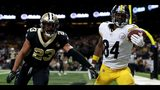 Antonio Brown #84 of the Pittsburgh Steelers attempts to catch the ball as Marshon Lattimore #23 of the New Orleans Saints defends during the second half at the Mercedes-Benz Superdome on December 23, 2018 in New Orleans, Louisiana.