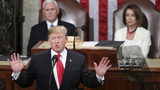 In this Feb. 5, 2019 photo, President Donald Trump delivers his State of the Union address to a joint session of Congress on Capitol Hill in Washington, as Vice President Mike Pence and Speaker of the House Nancy Pelosi, D-Calif., watch.