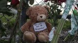 A teddy bear is seen in a makeshift memorial setup in front of Marjory Stoneman Douglas H.S. on Feb. 18, 2018 in Parkland, Florida. (Photo by Joe Raedle/Getty Images)