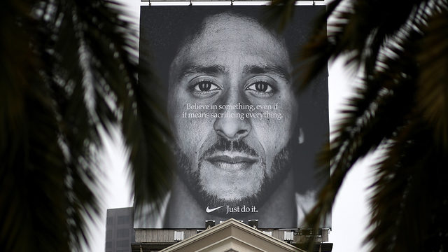 294daa2952 A billboard featuring former San Francisco 49ers quaterback Colin  Kaepernick is displayed on the roof of the Nike Store on September 5