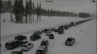 Snowy conditions cause massive pileup at Donner Pass