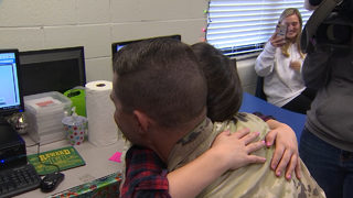 Soldier surprises daughter at school after yearlong tour overseas