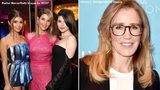 (Left image) (L-R) Olivia Jade Giannulli, Lori Loughlin and Isabella Rose Giannulli attend an event at the Beverly Wilshire Four Seasons hotel. (Right image) Felicity Huffman attends a pre-Oscars event at Four Seasons Los Angeles at Beverly Hills.