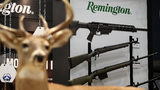 Remington rifles are displayed during the NRA Annual Meeting. On Thursday, The Connecticut Supreme Court ruled that the families of victims killed in the 2012 Sandy Hook Elementary School shooting can sue gun manufacturers, including Remington.