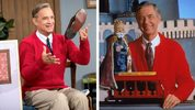 Actor Tom Hanks, left, channeling the real Fred Rogers', right, on the set of the new film 'A Beautiful Day in the Neighborhood.' Sony released a shot of Hanks as Rogers in honor of the iconic TV host's birthday. He would have turned 91 Wednesday.
