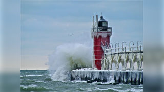 Glassy, spiked ice shards on shore of Lake Michigan create otherworldly landscape
