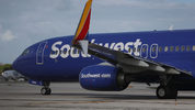 FILE PHOTO: A Southwest airlines plane prepares to take off from Fort Lauderdale–Hollywood International Airport on February 20, 2019, in Fort Lauderdale. There are reports of a computer outage that is delaying flights.