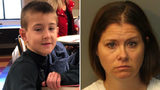Noah McIntosh, 8, is pictured at left in an undated photo. His mother, Jillian Godfrey, 36, of Corona, California, is charged with child abuse.