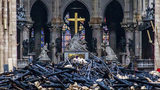 Debris are seen inside Notre Dame cathedral in Paris, Tuesday, April 16, 2019. Firefighters declared success Tuesday in a more than 12-hour battle to extinguish an inferno engulfing Paris' iconic Notre Dame cathedral.