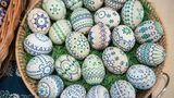 SCHLEIFE, GERMANY: Easter eggs are pictured during the annual Sorbian Easter egg market at the Sorbian cultural center on March 17, 2018 in Schleife, Germany. Sorbians are a Slavic minority in eastern Germany.