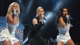 Singers Britney Spears(L), Madonna, and Christina Aguilera perform onstage during the 2003 MTV Video Music Awards at Radio City Music Hall on August 28, 2003 in New York.