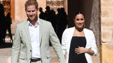 In this Monday, Feb. 25, 2019 file photo, Britain's Prince Harry and Meghan, Duchess of Sussex visit the Andalusian Gardens in Rabat, Morocco, Monday, Feb. 25, 2019. Multiple media outlets have reported the Duchess of Sussex is in labor.