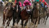 FILE - In this May 4, 2019, file photo, Flavien Prat on Country House, left, races against Luis Saez on Maximum Security, third from left, during the 145th running of the Kentucky Derby horse race at Churchill Downs in Louisville, Ky.