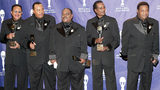 Inductees Verne Allison, Charles Barksdale, John Carter, Marvin Curtis Junior and Michael McGill of The Dells backstage at the Rock & Roll Hall Of Fame 19th Annual Induction Dinner at the Waldorf Astoria Hotel March 15, 2004 in New York City.
