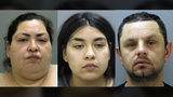 Booking photos provided by the Chicago Police Department, Thursday, May 16, 2019, show (left) Clarisa Figueroa, 46, (center) Desiree Figueroa, 24, and (right) Piotr Bobak, 40. Photo: AP