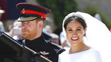 Prince Harry and his wife Meghan Markle leave after their wedding ceremony, at St. George's Chapel in Windsor Castle in Windsor, near London, England. Sunday, May 19, 2019 marks the first wedding anniversary of the couple.