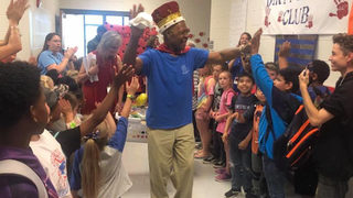 Students give 83-year-old custodian send-off fit for king