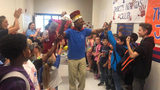 John Lockett retired with a sendoff from the kids at the elementary school where he served as custodian.