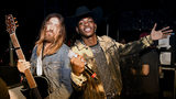 Billy Ray Cyrus (L) and Lil Nas X pose backstage during the 2019 Stagecoach Festival at Empire Polo Field on April 28, 2019 in Indio, California.