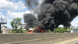 One killed, four injured after fire engulfs church bus on North Carolina interstate